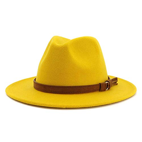 (Lisianthus Men & Women Vintage Wide Brim Fedora Hat with Belt Buckle (Yellow, Men (L; Hat Circumference:)