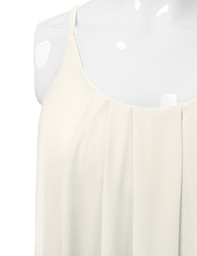 JJ Perfection Women's Pleated Chiffon Layered Cami Tank Top Ivory L by JJ Perfection (Image #3)