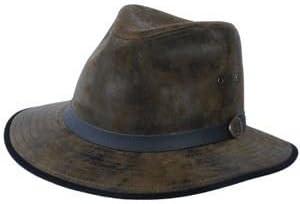 OLIVE Eureka Indiana Jones Madrid Style Fedora Leather Hat EH065 L