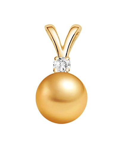 9-10mm Golden South Sea Cultured Pearl Pendant AAA Quality 14K Yellow Gold with Diamond
