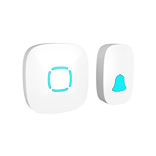 Finduat Wireless Doorbell Operating 900 feet Range with Over 36 Chimes & Adjustable Volume, No Radiation Cordless Music Door Set for Home Villa Apartment Elder-care (White,Waterproof)