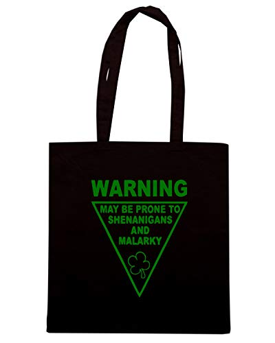 SHENANIGANS TIR0220 Shopper Borsa Nera MALAR WARNING AND GREEN qdIE8wE