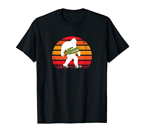 Funny Bigfoot Silhouette Carrying Cactus In The Sunset Gift T-Shirt