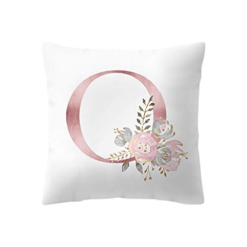 KASAAS Letter Print Pattern Decorative Pillowcases Kids Room Decoration Cushion English Alphabet Covercases(One Size,O) (Best Chair For Indian Head Massage)