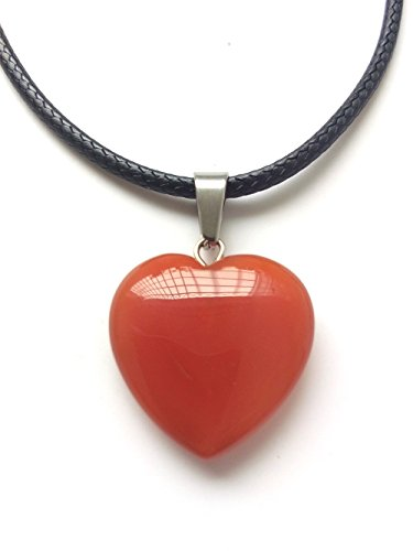 AIMITH Heart Shape Love Pendant Onyx Crystal Gemstone Rock Stone Chakra Necklace Jewelry (Red Onyx)