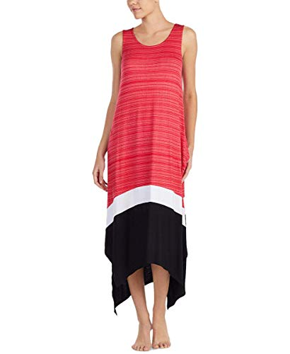 DKNY Striped Colorblock Maxi Chemise Pink Print -