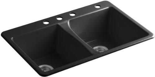 KOHLER K-5873-4-7 Deerfield Double Bowl Top-Mount Kitchen Sink with Four (Black Deerfield Kitchen Sink)