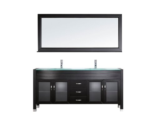 Virtu Usa Um 3073 G Es Ava 71 Inch Double Sink Bathroom Vanity Set With Shelf  Tempered Glass Countertop  Espresso Finish