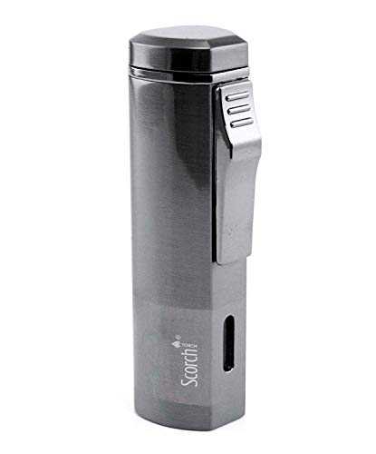Scorch Torch Aficionado Easy Slide Switch Triple Jet Flame Butane Torch Cigarette Cigar Lighter w/Butane Window (Gunmetal)