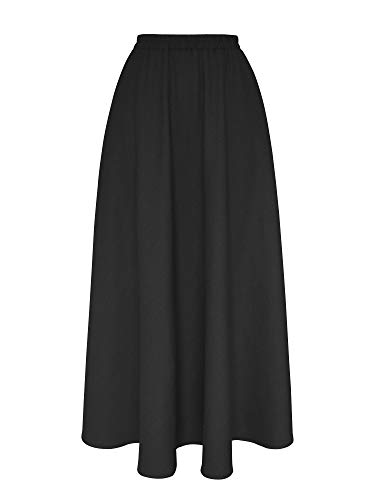 (XiYu Skirt For Women Long Length - Flax Maxi Full Ankle With Pocket Elastic Waist Plain Black - 80CM)