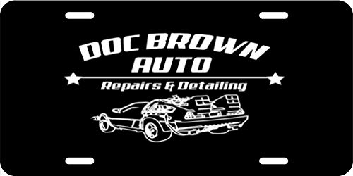 - Doc Brown Auto Repairs and Detailing Black Background Aluminum License Plate for Car Truck Vehicles