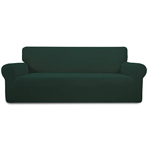 Easy-Going Stretch Sofa Slipcover 1-Piece Sofa Cover Furniture Protector Couch Soft with Elastic Bottom Kids,Polyester Spandex Jacquard Fabric Small Checks(Oversized Sofa,Dark - Sofa Leather Green