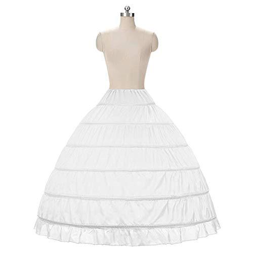 (Kumeng Full A-Line 6 Hoop Floor-Length Bridal Dress Gown Slip Petticoat (White))