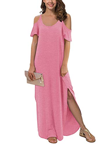 GRECERELLE Women's Summer Strapless Strap Cold Shoulder Casual Loose Dress Cover Up Long Cami Split Maxi Dresses with Pocket VG-Pink-M