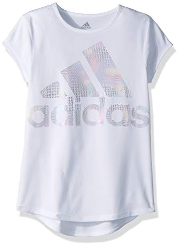 adidas Girls' Big Short Sleeve Graphic Tee T-Shirt, White Rainbow Foil, - Girls Tees Graphic Foil