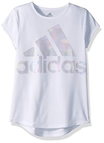 adidas Girls' Big Short Sleeve Graphic Tee T-Shirt, White Rainbow Foil, XL ()