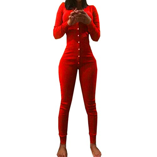 Women Women Sexy Playsuit Long Sleeve Button V Neck Party Clubwear Jumpsuit (Red, M) ()