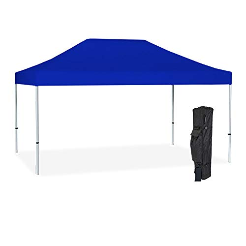 - Vispronet Commercial Instant 10ft x 15ft Blue Canopy Tent Kit - Pop Up Tent - Aluminum Hex Frame - Water-Resistant 450D Canopy with Roller Bag and Stakes