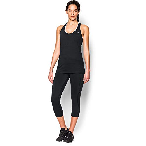 Under Armour Womens Tech Solid Tank, Black (001)/Metallic Silver, X-Large