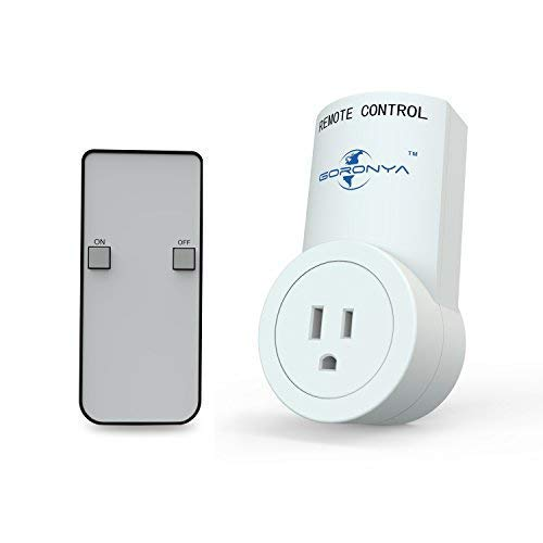 Goronya Wireless Outlet Switch with Remote,Electrical Plug Outlet Control for Household Appliance Lamp Light Etc (1 Plug / 1 Remote) ()