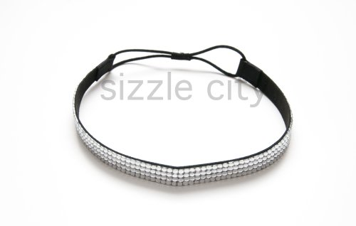 SIZZLE CITY Custom Color Bling Shimmering Rhinestone Elastic Stretch Headbands (Thick Clear) (Bling Shimmering)