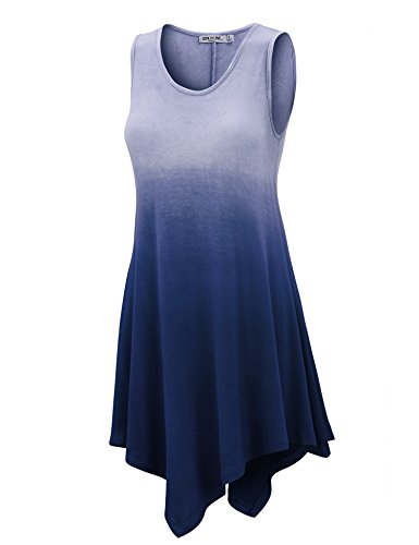 LL WT1053 Womens Round Neck Ombre Sleeveless Tunic Tank Top L NAVY