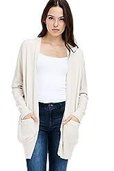 Alexander David Womens Loose Open Cardigan Sweater Dropped Sleeve Pocket Oatmeal Medium Large