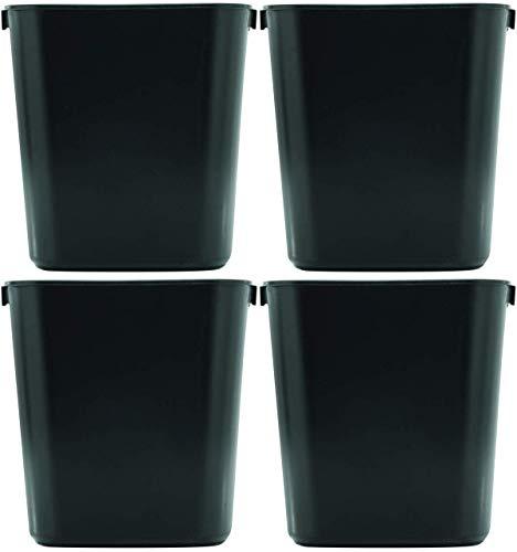 Rubbermaid DMCVYEQL 295500BK Deskside Plastic Wastebasket, Rectangular, 3 1/2 gal, 4 - Pack