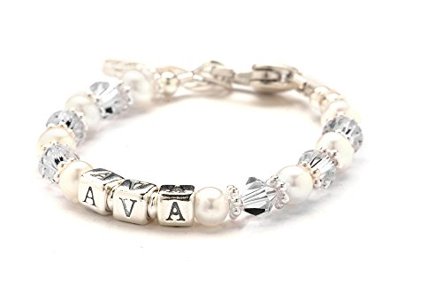 (Lily Brooke Personalized Child's Crystal, Cultured Freshwater Pearl & Sterling Silver Bracelet - April Birthday)