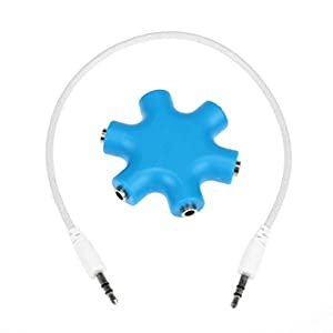 Sannysis 3.5mm Headphone Earphone Audio Splitter 1 Male to 2 3 4 5 Female Cable (Blue)