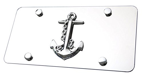 LFPartS Navy Ship Anchor 3d Emblem on Polished Stainless Steel License Plate (plate 12