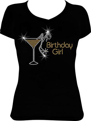(Birthday Girl Martini Bling Rhinestone Shirt (Topaz Gold, Medium))