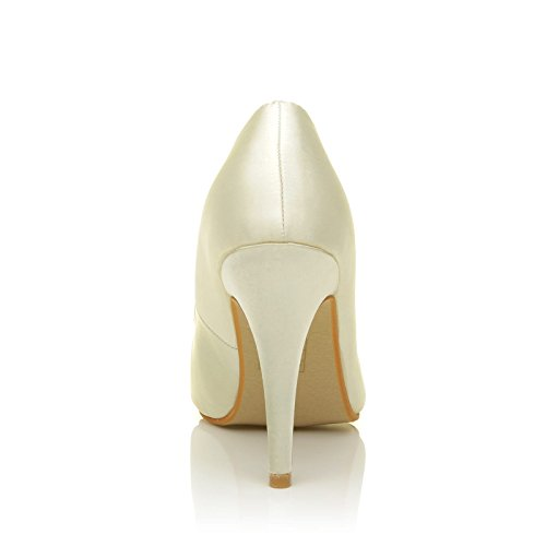 Darcy Ivory Satin Stilleto High Heel Pointed Bridal Court Shoes gURBVyMt