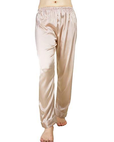 Wantschun Womens Satin Silk Sleepwear Long Pajamas Pants Nightwear Loungewear Pj Bottoms Trousers Champagne US Size ()