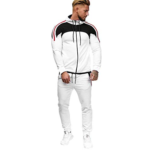 Men's Activewear Full Zip Warm Tracksuit Sports Set Casual Sweat Suit White