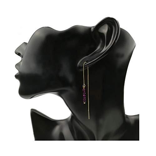 Metallic Purple Crystal Beads Threader Earrings,Dainty Gold Plated Box Chain Long Drop Dangle Earrings,Minimalist Pull Through Earrings(Metallic Purple)