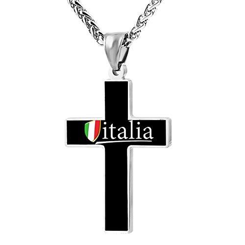 Fgfio I Love Italy Italian Flag Fashion Printed Cross Necklace Cross Prayer Christ Necklace Pendant 24 Inch Crucifix Pray Ornaments Unisex