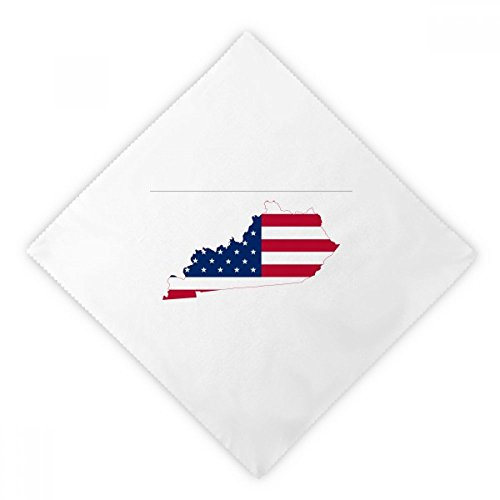 DIYthinker Kentucky USA Map Stars Stripes Flag Shape Dinner Napkins Lunch White Reusable Cloth 2pcs