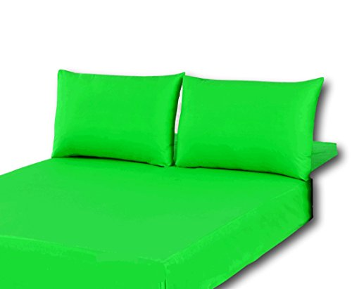 (Tache 3 Piece Cotton Solid Spring Neon Lime Green Fitted Bed Sheet Only, Full)