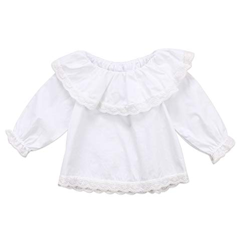 (Baby Girl Basic Plain Shirt Lace Ruffle T-Shirt Doll Collar Tops Blouse Half Sleeve Bloomer Casual Sunsuit Pullover (18-24M, White))