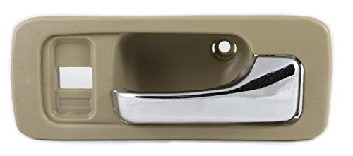 Eynpire 8110 Front Right Passenger Side Interior Inside Door Handle Beige/Tan Housing with Chrome Lever For 1990 -1993 Honda Accord 4 Door Sedan (1993 Honda Accord Right Door)