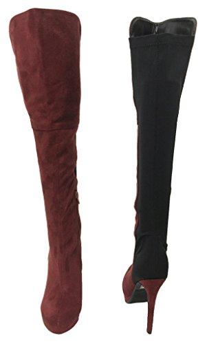 Lustacious Kvinnor Over-the-knee Plattformen Klack Stövlar Med Bakre Elastiskt Tyg Och Nedre Blixtlås Djupt Vinröda Svart Faux Mocka