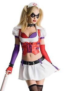 LanLan Sexy Harley Quinn Arkham City Asylum Nurse Cosplay Halloween Costume]()