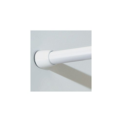 mDesign Bathroom Shower Constant Tension Expandable Shower Curtain Rod - Adjustable Length, Expands from 50'' - 87'', Easy Install, No Tools Needed - White by mDesign