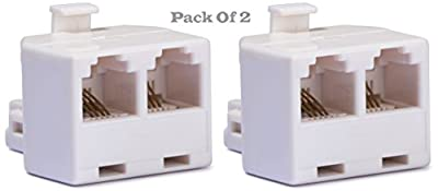 2- Pack. Duplex Wall Jack Adapter, Converts One RJ-11 Male Jack, Into Two Female Jacks. Ideal Use To Add a Call Blocker, Fax Machine, Answering System, Telephone Ringer, Cordless Phone, Modem, Etc.