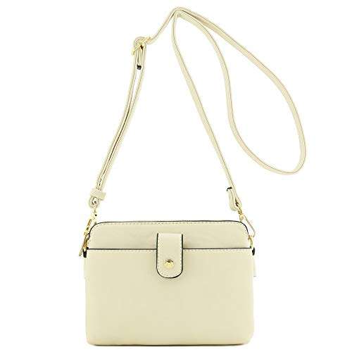 Double Compartment Small Crossbody Bag Beige