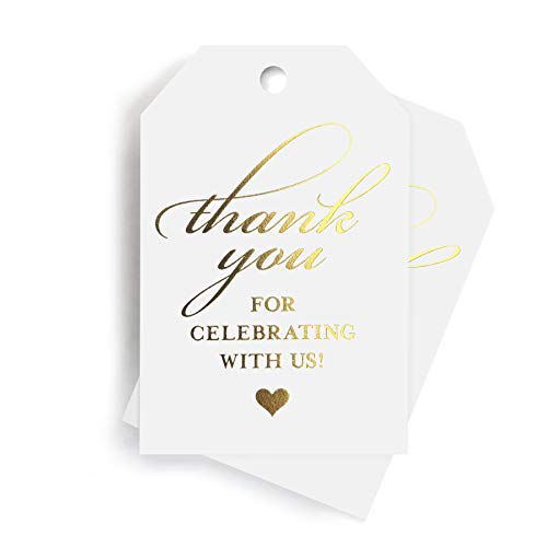 Gold Thank You Tags — Perfect for: Wedding Favors, Baby Shower, Bridal Shower, Birthday or Special Event — 50 Pack from Bliss Paper Boutique