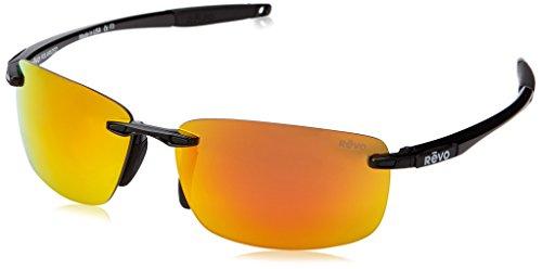 Revo Unisex RE 4059 Descend N Rectangular Polarized UV Protection Sunglasses, Black Frame, Solar Orange ()