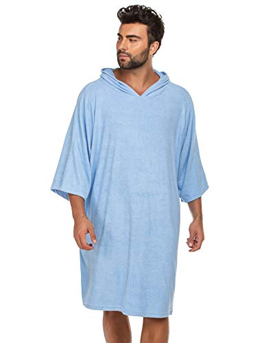 Ekouaer Beach Surf Poncho,Super Water Absorbent Wetsuit Changing Towel Robe with Hood for Surfing Swimming Bathing for Adults Men Women,Sand-Proof,Oversized