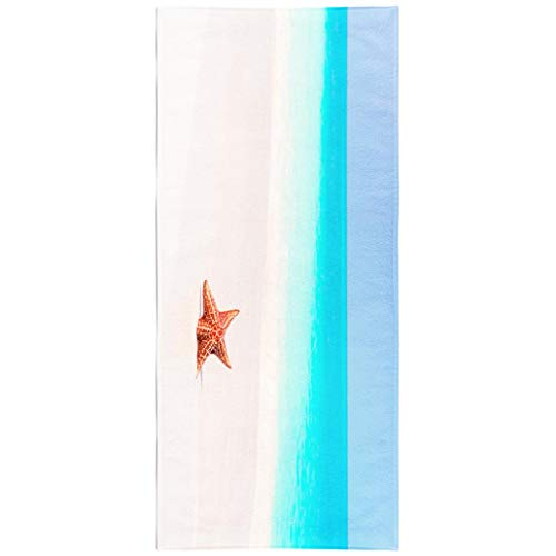 KJONG Sea-Star-Beach Blanket Microfiber Fast Dry Compact Kids Beach Towels Tropical Beach with Beautiful Red Starfish White Sand Swimming Gym Camping Sunbath 30x60 Inch